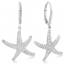 Dangling Starfish Diamond Earrings Pave Set 14k White Gold (1.17ct)