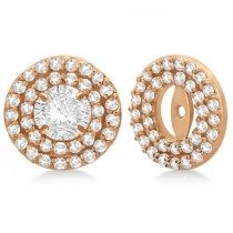 Double Halo Diamond Earring Jackets for 7mm Studs 14k Rose Gold (0.75ct)