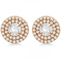 Double Halo Diamond Earring Jackets for 8mm Studs 14k Rose Gold (0.80ct)