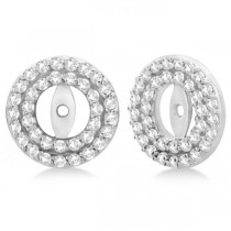 Double Halo Diamond Earring Jackets for 7mm Studs 14k White Gold (0.75ct)