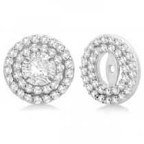Double Halo Diamond Earring Jackets for 9mm Studs 14k White Gold (0.85ct)