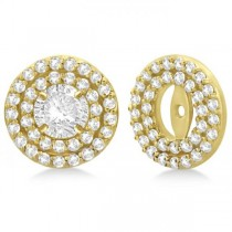 Double Halo Diamond Earring Jackets for 7mm Studs 14k Yellow Gold (0.75ct)
