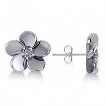Diamond Flower Blossom Stud Earrings 14k White Gold (0.06ct)