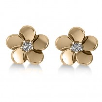 Diamond Flower Blossom Stud Earrings 14k Yellow Gold (0.06ct)|escape