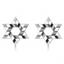 Contemporary Jewish Star of David Earrings in 14k White Gold