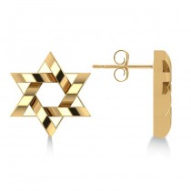 Contemporary Jewish Star of David Earrings in 14k Yellow Gold