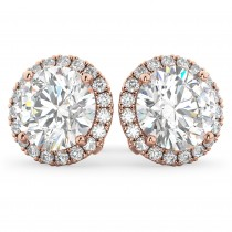 Halo Round Diamond Stud Earrings 14k Rose Gold (4.57ct)
