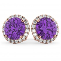 Halo Round Amethyst & Diamond Earrings 14k Rose Gold (4.17ct)