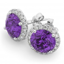 Halo Round Amethyst & Diamond Earrings 14k White Gold (4.17ct)