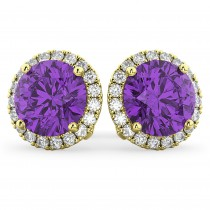 Halo Round Amethyst & Diamond Earrings 14k Yellow Gold (4.17ct)