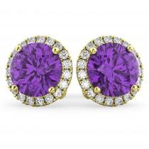 Halo Round Amethyst & Diamond Earrings 14k Yellow Gold (4.17 ct)