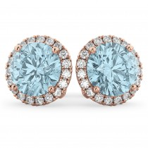 Halo Round Aquamarine & Diamond Earrings 14k Rose Gold (4.97ct)