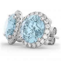 Halo Round Aquamarine & Diamond Earrings 14k White Gold (4.97ct)