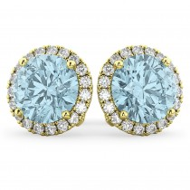 Halo Round Aquamarine & Diamond Earrings 14k Yellow Gold (4.97ct)