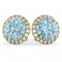 Halo Round Aquamarine & Diamond Earrings 14k Yellow Gold (4.97 ct)