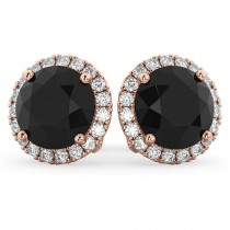Halo Round Black Diamond & Diamond Earrings 14k Rose Gold (4.57ct)