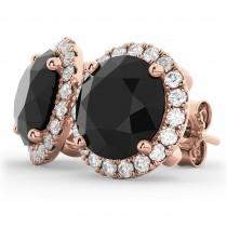 Halo Round Black Diamond & Diamond Earrings 14k Rose Gold (4.57ct)