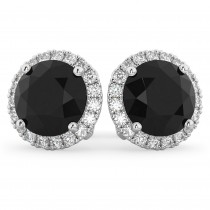 Halo Round Black Diamond & Diamond Earrings 14k White Gold (4.57ct)