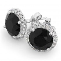 Halo Round Black Diamond & Diamond Earrings 14k White Gold (4.57ct)