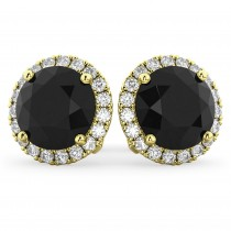 Halo Round Black Diamond & Diamond Earrings 14k Yellow Gold (4.57ct)