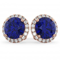 Halo Round Blue Sapphire & Diamond Earrings 14k Rose Gold (5.17ct)
