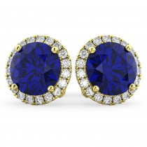 Halo Round Blue Sapphire & Diamond Earrings 14k Yellow Gold (5.17ct)