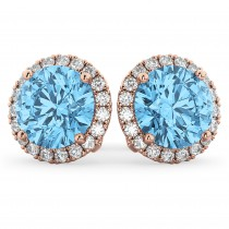 Halo Round Blue Topaz & Diamond Earrings 14k Rose Gold (5.57ct)