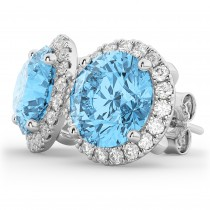 Halo Round Blue Topaz & Diamond Earrings 14k White Gold (5.57ct)