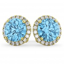 Halo Round Blue Topaz & Diamond Earrings 14k Yellow Gold (5.57ct)