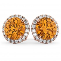 Halo Round Citrine & Diamond Earrings 14k Rose Gold (4.17 ct)