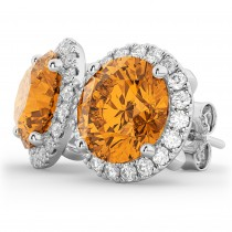 Halo Round Citrine & Diamond Earrings 14k White Gold (4.17ct)