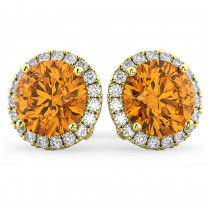 Halo Round Citrine & Diamond Earrings 14k Yellow Gold (4.17ct)