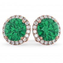 Halo Round Emerald & Diamond Earrings 14k Rose Gold (4.97 ct)