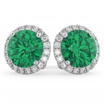 Halo Round Emerald & Diamond Earrings 14k White Gold (4.97ct)