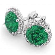 Halo Round Emerald & Diamond Earrings 14k White Gold (4.97ct)