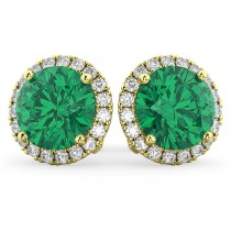 Halo Round Emerald & Diamond Earrings 14k Yellow Gold (4.97ct)