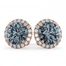Halo Round Gray Spinel & Diamond Earrings 14k Rose Gold (4.17ct)