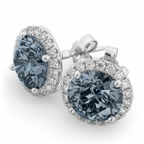 Halo Round Gray Spinel & Diamond Earrings 14k White Gold (4.17ct)