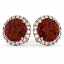 Halo Round Garnet & Diamond Earrings 14k Rose Gold (5.57ct)