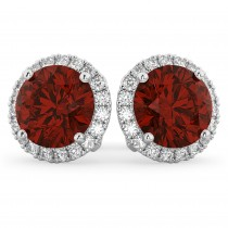 Halo Round Garnet & Diamond Earrings 14k White Gold (5.57ct)