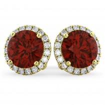 Halo Round Garnet & Diamond Earrings 14k Yellow Gold (5.57ct)