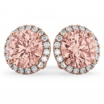 Halo Round Morganite & Diamond Earrings 14k Rose Gold (4.17ct)