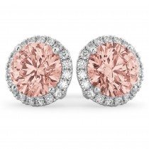 Halo Round Morganite & Diamond Earrings 14k White Gold (4.17ct)