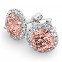 Halo Round Morganite & Diamond Earrings 14k White Gold (4.17ct)