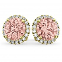 Halo Round Morganite & Diamond Earrings 14k Yellow Gold (4.17ct)