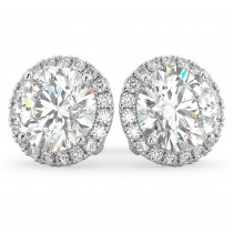 Halo Round Moissanite & Diamond Earrings 14k White Gold (3.77ct)