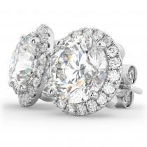 Halo Round Moissanite & Diamond Earrings 14k White Gold (3.77ct)