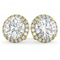 Halo Round Moissanite & Diamond Earrings 14k Yellow Gold (3.77ct)
