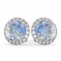 Halo Round Moonstone & Diamond Earrings 14k White Gold (5.57ct)