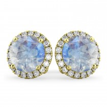 Halo Round Moonstone & Diamond Earrings 14k Yellow Gold (5.57ct)